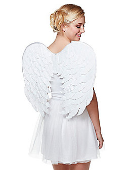 White Velvet Angel Wings