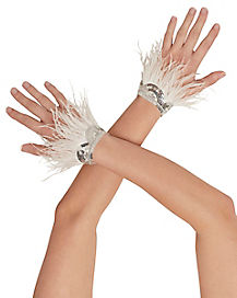 White Feather Angel Gloves