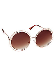'70s Gold-tone Round Sunglasses