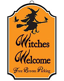 Witches Broom Parking Sign - Decorations