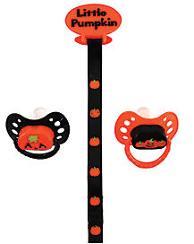 Halloween Pumpkin Pacifier and Clip Set