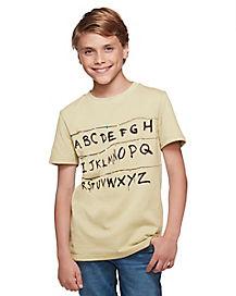 Kids Stranger Things Alphabet Wall T Shirt - Stranger Things