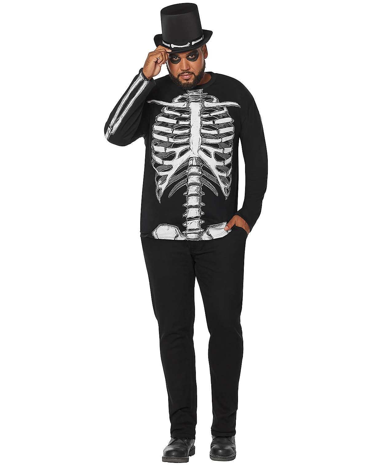 Plus size long sleeve skeleton t shirt