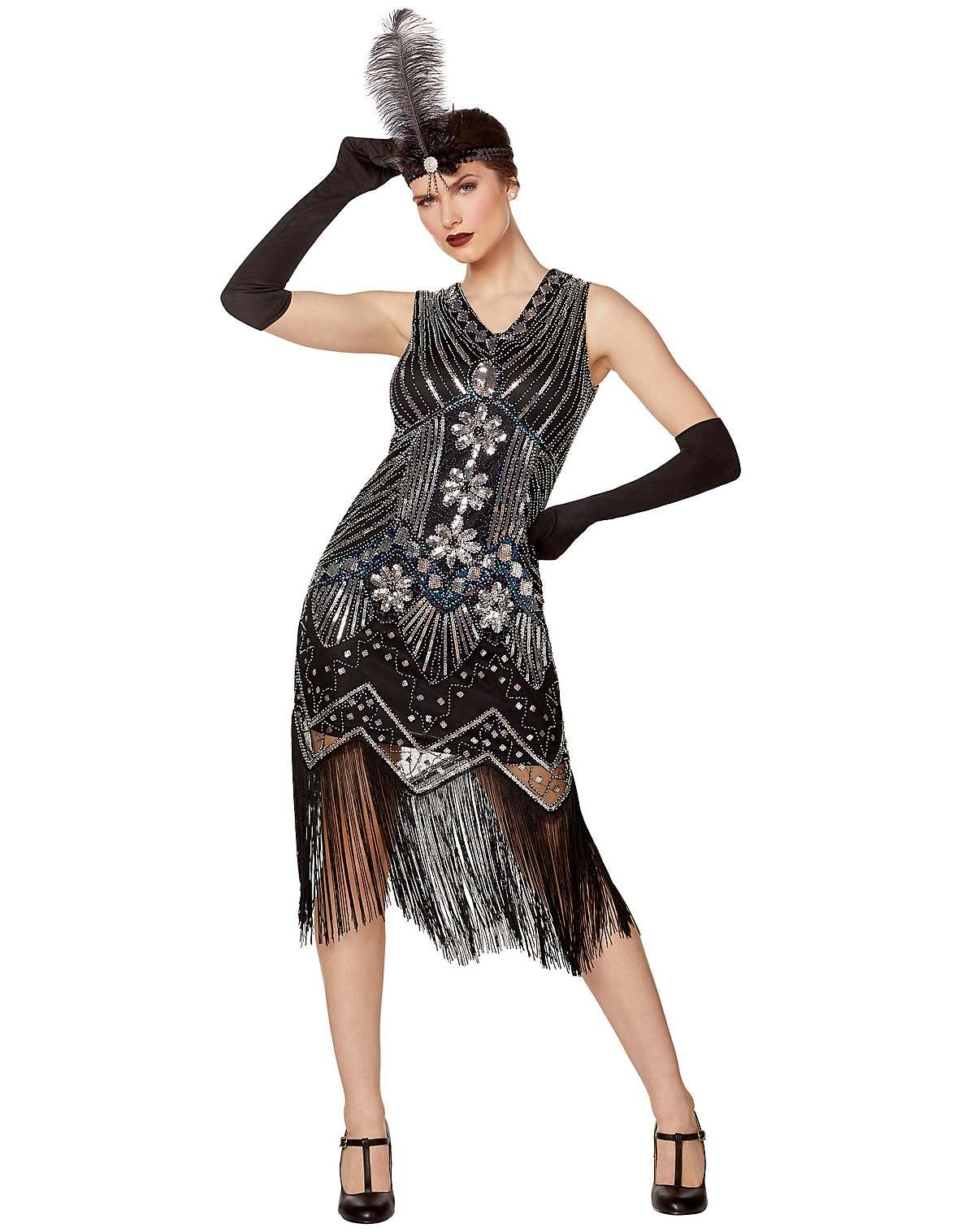 adult black beaded flapper dress