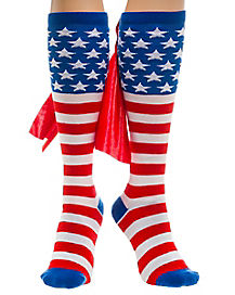 Caped American Flag Knee High Socks