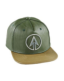 Faux Leather Arrow Snapback Hat