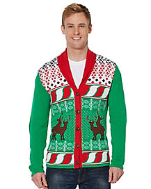 Humping Reindeer Cardigan Christmas Sweater
