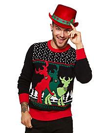 Threesome Reindeer Ugly Christmas Sweater