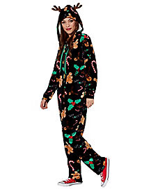 Adult Bah Humbug Reindeer One Piece Pajamas