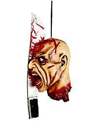 Hanging Head Split With Machete Prop - Decorations