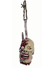 Hanging Ghoul Head on Hook - Decorations