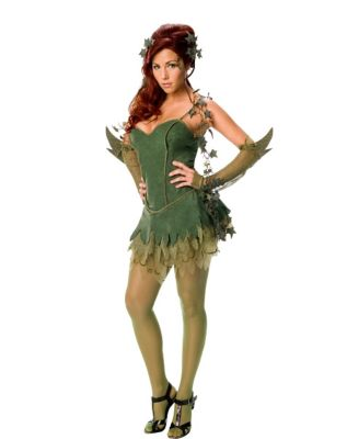 a women modeling a poison ivy costume