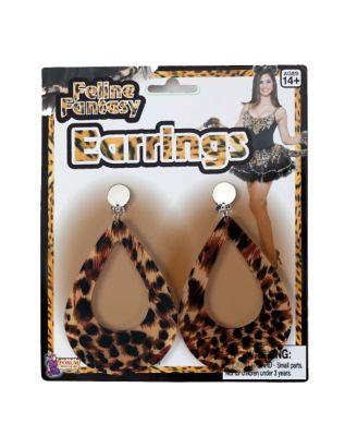 leopard print cat earrings