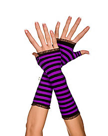 Black and Purple Striped Arm Warmers