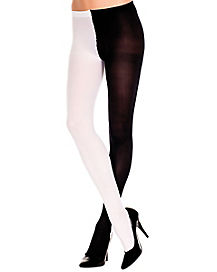 Opaque Jester Tights -  Black and White