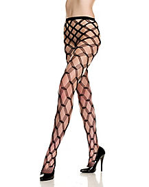 Diamond Net Lace Black Stockings