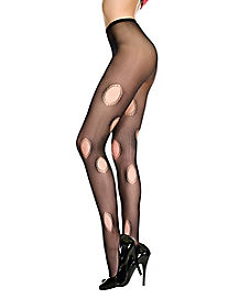 Mesh Hole Black Adult Stockings