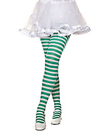 Girls Green and White Striped Tights