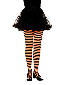 Kids Black and Orange Striped Tights