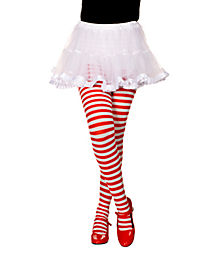 Kids Red and White Opaque Striped Tights