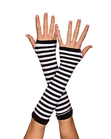 White and Black Striped Arm Fingerless Gloves