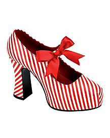 Adult Striped Candy Cane Mary Jane Shoes