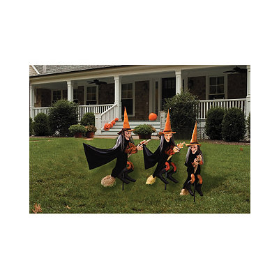 3 piece Lawn Witch Decor