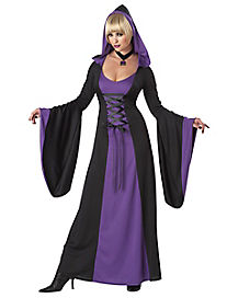 Adult Hooded Purple Robe Witch Costume