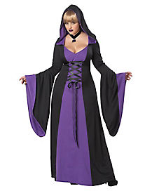 Adult Purple Hooded Robe Plus Size Costume - Deluxe