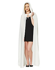 White Full Length Adult Womens Hooded Cape