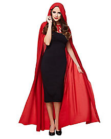 Full Length Red Hooded Cape