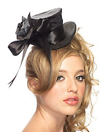 Satin Black Top Hat Adult Women's