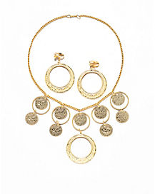 Gold Necklace and Earring Set