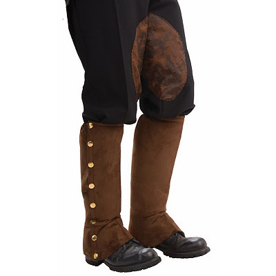 Steampunk Boots and Shoes for Men Brown Suede Steampunk Boot Covers $10.99 AT vintagedancer.com