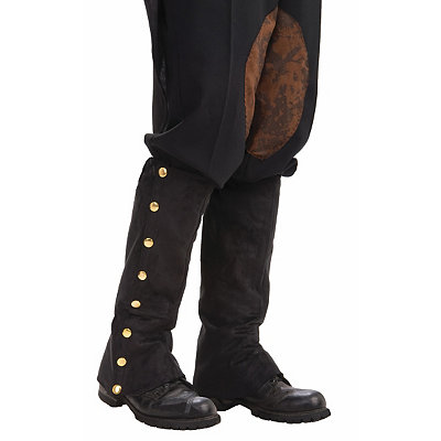 Steampunk Tights  & Socks Black Suede Steampunk Boot Covers $10.99 AT vintagedancer.com