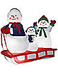 Snowman Sledding Scene Airblown Inflatable