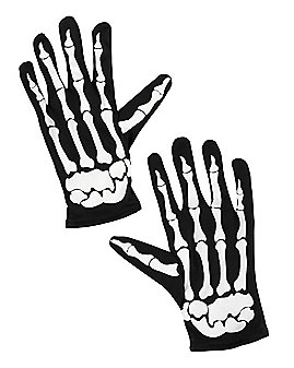 Skeleton Printed Gloves Teen Size
