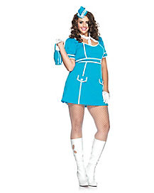 Adult Flight Attendant Plus Size Costume