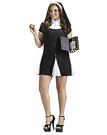Adult Bad Habit Nun Plus Size Costume