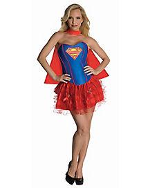 Adult Supergirl Corset and Petticoat Costume - DC Comics