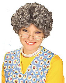 Grey Yo Momma Grandma Wig