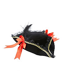 Red Velvet Feather Pirate Hat