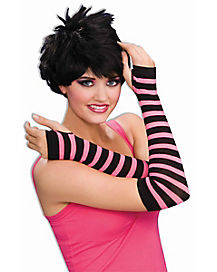 80s Striped Pink and Black Arm Warmers