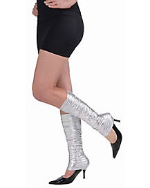 80s Punk Rock Silver Scrunch Leg Warmers