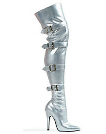 Womens Silver Buckle Thigh High Boots