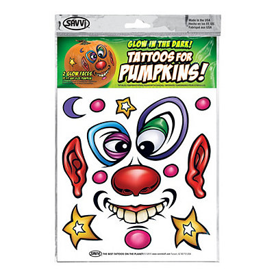 Clown Glow in the Dark Pumpkin Tattoo