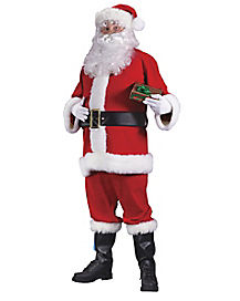 Adult Flannel Santa Suit Plus Size Costume