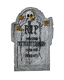 22 in Light Up Leaf Skull Tombstone - Decorations