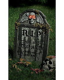 22 Inch Light Up Winged Skull Tombstone - Decorations
