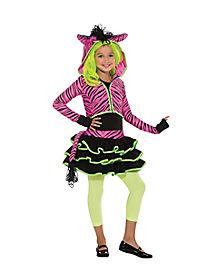 Kids Neon Pink Zebra Costume
